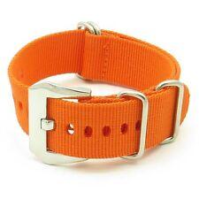 StrapsCo Nylon Wrap Around Military Watch Band Strap in Orange w/ PRE-V Buckle