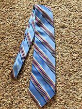 Paul Fredrick Mens Light Blue Multi-color Stripe Silk Tie Necktie