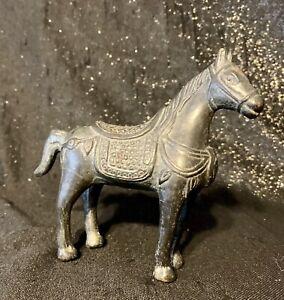 Altes Pferd Bronze Metall Reitpferd