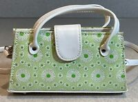 Small Sax Flower Clutch Wallet Crossbody Bag Purse Green and White      BD