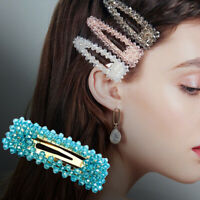 Ladies Girl Slide Snap Hair Clips Pins Barrette Hairpin Crystal Hair Accessories