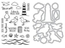 "Hero Arts ""SEAS THE DAY SEAGULLS"" Clear Stamps & Frame Cuts Die Bundle"