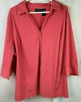 Womens Maggie Barnes Button Down Pink Blouse Plus Size 2X 22 / 24W 3/4 Sleeve