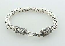 "Sterling Silver 925 Square Byzantine Chain Bali Bracelet - 7"""