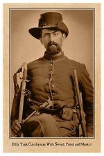 BILLY YANK Cavalry Sword PIstol Musket Civil War Vintage Photograph Card CDV