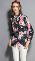 Black Pink Roses Print  Pussy Bow Neck Tie Chic Winter Casual Blouse Shirt 10 12
