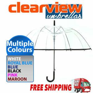 Birdcage Clear Dome Umbrella Wedding Rain Transparent Parasol Automatic