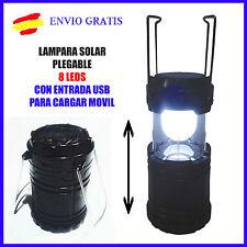 Linterna Lampara 8 LED SOLAR Plegable USB carga MOVIL por energia solar Camping