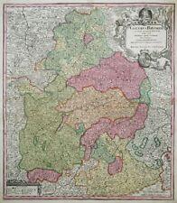 BAYERN CIRCULUS BAVARIAE FRANKEN ÖSTERREICH WAPPEN KARTE KOLORIERT SEUTTER 1720