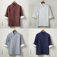 Chinese Style Men Casual Cotton Linen Tang Suit Tai Chi Coat Retro Shirt Uniform