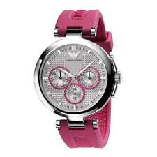 ARMANI WOMENS WATCH AR0737 SILVER DIAL PINK RUBBER STRAP, COA, RRP £195.00