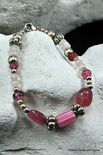 Edelsteinarmband Turmalin Rosenquarz  Gemstone Bracelet Tourmalin Rose Quarz