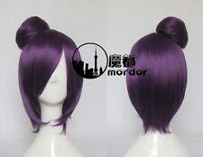NARUTO Konan Dark Purple Short Cosplay Wig Clip Bun Free Wig Cap