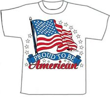 Proud American Flag Military T-Shirts White T-Shirt (M)