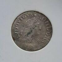 I03101 louis XIV 4 sols aux traitants 1676 D vimy cassée en deux royale argent