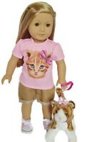 "Doll Clothes 18"" Shorts Shirt Pink Kitten Fits American Girl Dolls"