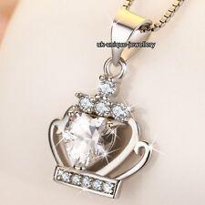 Plata 925 & Cristal Diamante Corazón Reina Collar Navidad Para Ella Amor