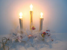 Vintage Electric Christmas Window Candle Plastic Drip Candelabra 3 Lights Floral