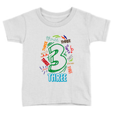 Big Three Kids T-Shirt 3rd Birthday Years Old Top Gift Present