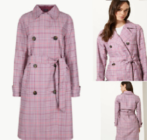 rrp £99 M/&S Long Belted COAT with WOOL Size 22~Wine /& Beige Mix CHECK