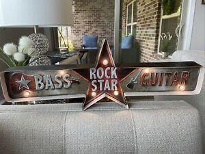 Arcade Games Rock Star LED Sign, Game Room Man Cave Guitar Bar Decor