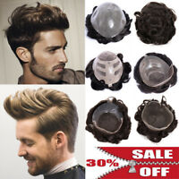 US Undetectable Hairline Toupee Mens Real Human Hair Piece French Lace Wigs P567