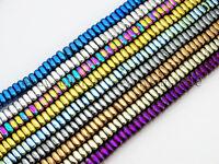 Metallic Colors Hematite Gemstone 2x4mm Square Sliced Loose Spacer Beads 16''