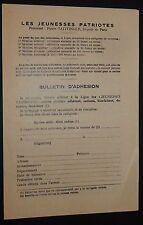 POLITIQUE FRANCE JEUNESSES PATRIOTES PIERRE TAITTINGER 1930-34 BULLETIN ADHESION