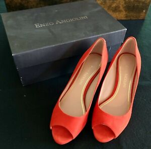 Enzo Angiolini Eagelabelle Womens Red Pumps Size 5.5 M Suede Peep Toe