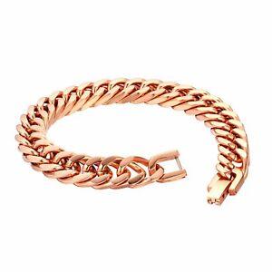 Men's Biker Rock Charm Flat Curb Link Chain Stainless Steel Bracelet Cuff Bangle