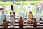 VTG ANTIQUE MEDICAL APOTHECARY GREEN BROWN AQUA CORK TOP GLASS 20 BOTTLE LOT