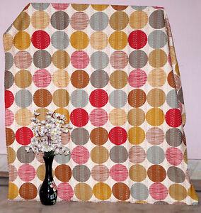 Indian Handmade Cotton Kantha Bedding Bedspread Quilt PolkaDot Blanket Throw Art