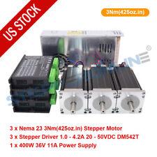 3 Axis Nema 23 425ozin Stepper Motor Amp Driver Dm542t Amp Power Supply Cnc Kit