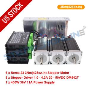 3 Axis Nema 23 425oz.in Stepper Motor & Driver DM542T & Power Supply CNC Kit