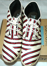 TOMS Women's Desert Laced Wedge Ts Red Cream Stripes Size 9