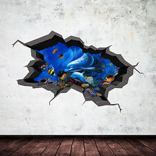 FULL COLOUR AQUARIUM UNDER WATER SEA DOLPHIN CRACKED 3D WALL STICKER WSD249