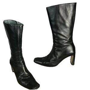 KAREN MILLEN Size 5 Black Leather Calf Length Heels Boots Winter