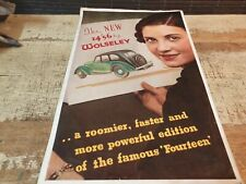 1936 WOLSELEY 14/56 Original Sales Brochure  RARE