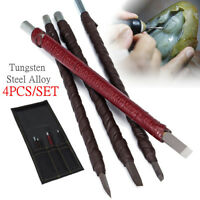 4Pcs Tungsten Steel Stone Carving Sculpting Kit Hand Chisel Tools Set Gouges+Bag