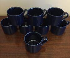 Set of 8 Dansk Bistro Japan Dark Cobalt Blue Coffee Tea Mug Cup