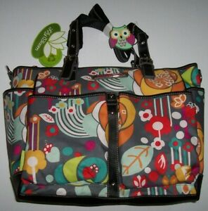 NWT Lily Bloom FLORAL BLISS Maya Large Tote/Travel/Diaper Bag Eco Gray/Red/Aqua