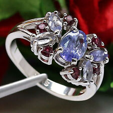 NATURAL 5 X 7 mm. OVAL BLUE TANZANITE & RHODOLITE GARNET RING 925 SILVER