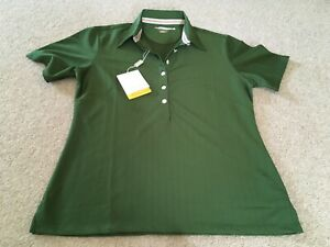 Greg Norman ladies green golf shirt size S 10/12 with rainbow trim inside collar
