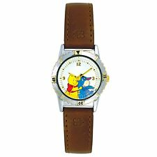 Disney Winnie the Pooh and Eeyore Watch Brown Leather Strap and Rotating Dial WT