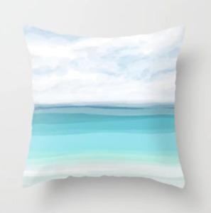 Throw Pillow Case Cushion Beach Ocean Turquoise White Beach Sea View 282 L.Dumas