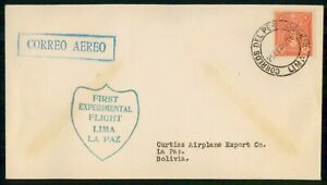 MayfairStamps Peru 1958 Lima to La Paz Curtiss Airplane Export First Flight Cove