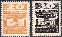 Stamp Germany Revenue WWII Reich VERWALTUNG BEZAHLT Management Fee 20-30pf MNH