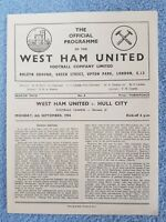 1954 - WEST HAM UTD v HULL CITY PROGRAMME - 2ND DIVISION - 54/55