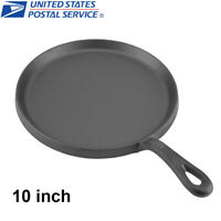 Cast Iron Griddle 10 Inch Pre Seasoned Cookware Pizza Eggs Pan BBQ Cooking Tool