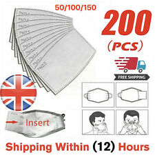 Face Mask PM2.5 Activated Carbon Filter Replace Breath Insert Mask Filter - UK